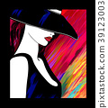 Woman with hat on colorful background 39123003