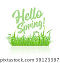 Text message hello spring, on a background of 39123397