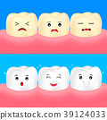 Cute cartoon white and yellow teeth. 39124033