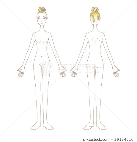 Naked woman full body illustration beauty front and back facing 39124316