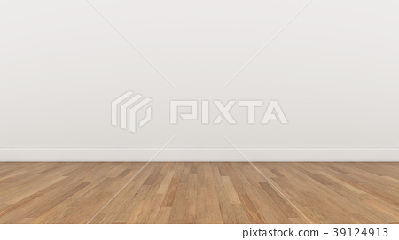 Empty Room White wall and wood brown floor 39124913