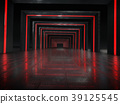 Long dark corridor interior with futuristic light. 39125545