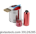 Painting equipment on white background 39126285