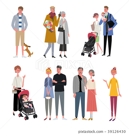 Various generations people illustration set 39126430