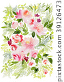 Greeting card with watercolor flowers handmade. 39126473