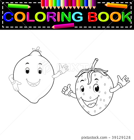 Lemon With And Strawberry With Face Coloring Book - Stock Illustration  [39129128] - PIXTA