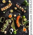 sushi set on the black background 39130522