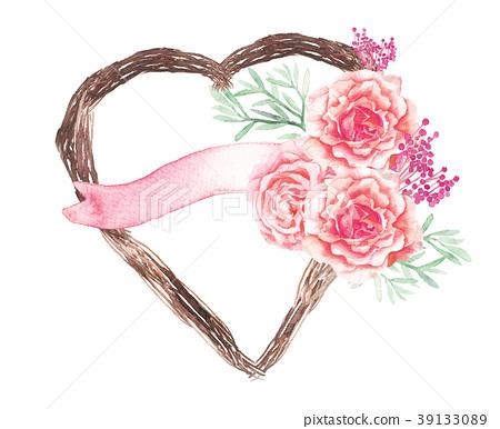 Vector heart plant, pink flower wedding decoration 39133089
