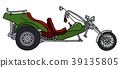 The green motor tricycle 39135805