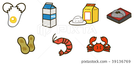 Food Allergies Specific raw materials 7 items of illustration material 39136769