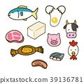 단백질이 풍부한 음식의 일러스트 소재 세트 39136781