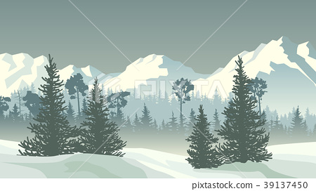 Winter coniferous forest with mountains. 39137450
