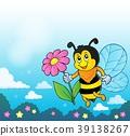 Happy bee holding flower theme 4 39138267