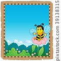 Parchment with happy bee theme 2 39138315