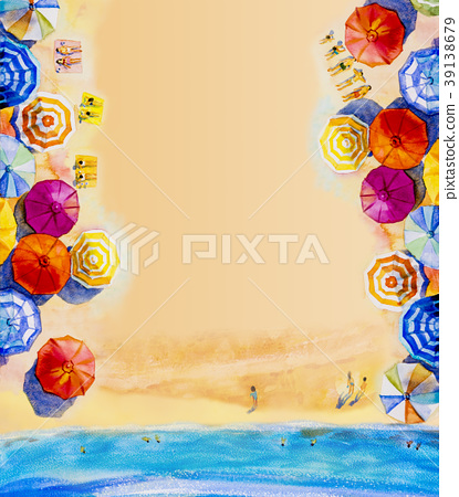 Painting watercolor seascape Top view, in holiday  39138679