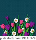 Paper cut spring flowers tulip and narcissus. 39140924