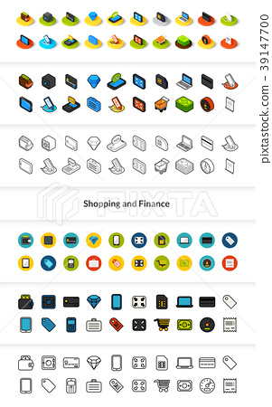 Set of icons in different style - isometric flat 39147700