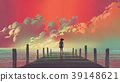 woman looking at colorful clouds in the sky 39148621
