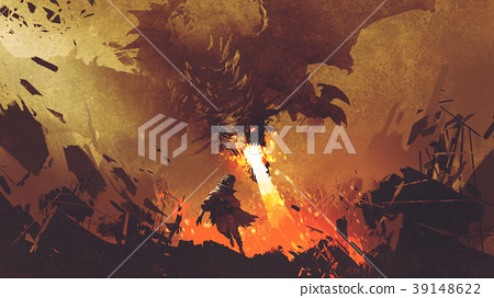 boy running away from the fire dragon 39148622