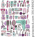 Hand draw elements of cosmetology, hairdressing 39149092