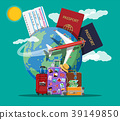 Travel suitcase with stickers and world map 39149850