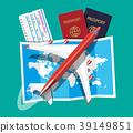 Passenger jet, boarding pass and passport, map 39149851