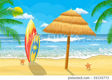 Summer Time on beach with umbrella 39150772