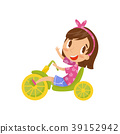 Lovely little girl riding tricycle, cute cartoon 39152942