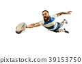 The silhouette of one caucasian rugby man player 39153750