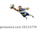 The silhouette of one caucasian rugby man player 39153770