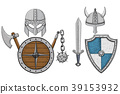 Viking armor set - helmets, shields and sword, axe 39153932