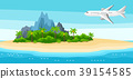 Illustration of tropical island in ocean 39154585