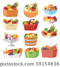 Fruit basket vector fruity apple banana and exotic 39154636