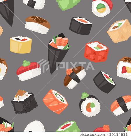 Japanese food vector sushi sashimi roll or nigiri 39154651