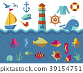Nautical vector animal and ship elements wave 39154751