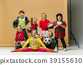 Group of happy children show different sport 39155630