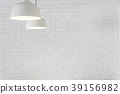White lamps with blurred white brick wall 39156982