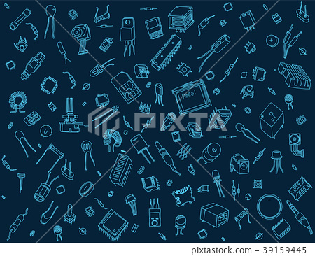 Electronic components pattern on blue background 39159445