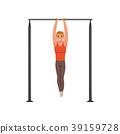 Handsome male gymnast training on horizontal bar 39159728
