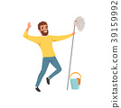 Happy bearded man with mop in hand, bucket and 39159992
