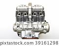 대형 오토바이의 엔진 39161298