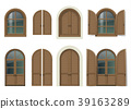 Wooden window and doors with shutters 39163289