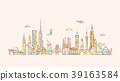 World skyline. Illustations in outline style 39163584