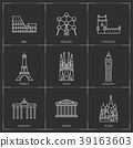 Europe landmarks. Illustations in outline style 39163603