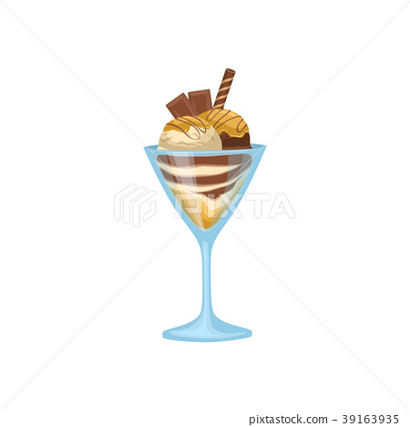 Chocolate ice cream in bowl with wafer icon 39163935