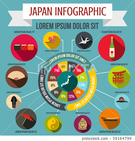 Japan infographic elements, flat style 39164799