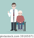 Doctor with elderly man sitting on wheelchair icon 39165071
