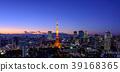 东京市中心的城市景观和东京铁塔的夜景 39168365