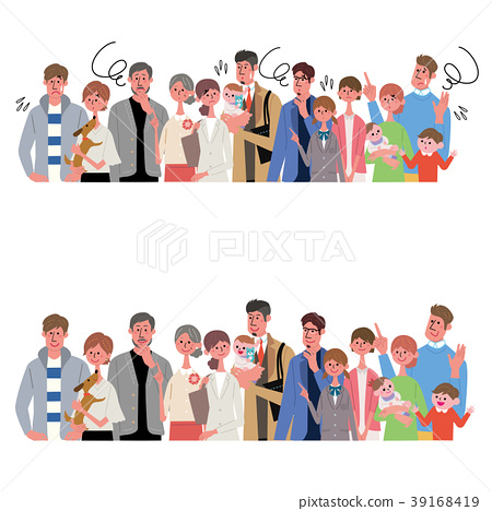 Various generations people illustration set 39168419