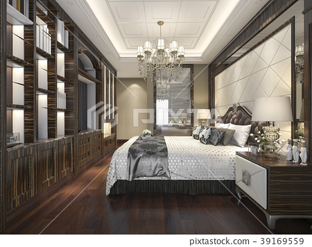 wood classic bedroom suite with shelf and bathroom 39169559